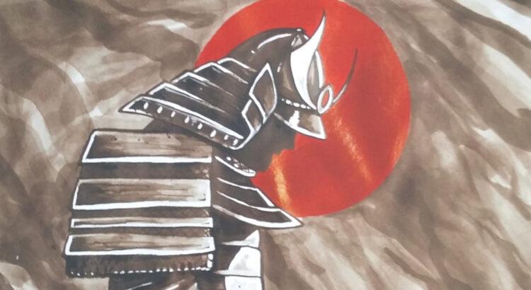 Hånd malet samurai. Dette maleri er lavet for helsingør kampsportscenter